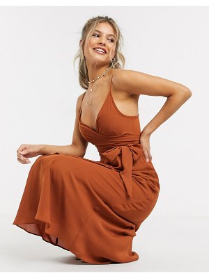 ASOS DESIGN cami wrap midi dress with tie waist in cinnamon-brown