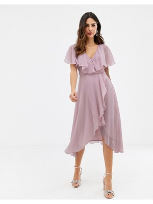 ASOS DESIGN cape back dipped hem midi dress