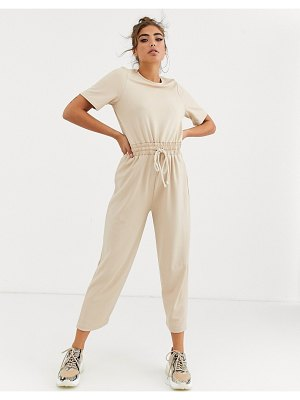 ASOS DESIGN casual textured jumpsuit with rope detail tie waist