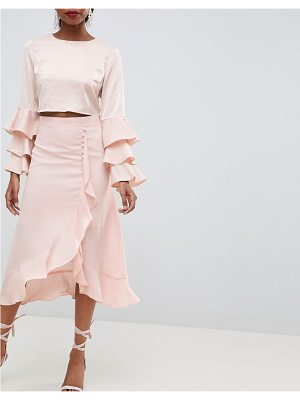 Asos chiffon midi skirt with button and frill detail