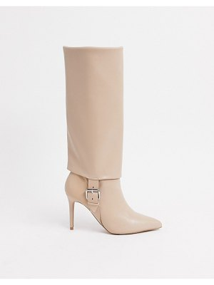 ASOS DESIGN christy pull-on knee boots with buckles in beige