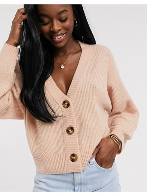 ASOS DESIGN chunky cardigan with button detail-pink