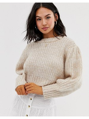 ASOS DESIGN chunky cropped sweater with puff sleeve