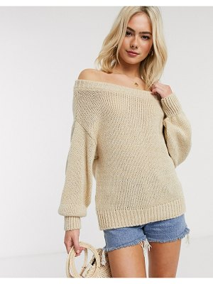 ASOS DESIGN chunky off shoulder sweater-stone
