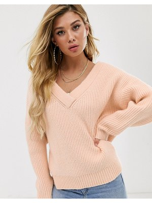 ASOS DESIGN chunky off shoulder sweater with v neck-pink