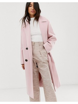 ASOS DESIGN classic coat with statement buttons in pink