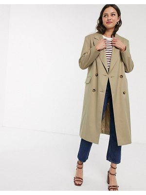 ASOS DESIGN classic crepe coat in stone