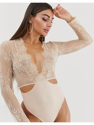 ASOS DESIGN cleotha long sleeve delicate lace & jersey bodysuit-pink