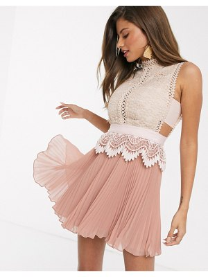 ASOS DESIGN contrast lace mini dress with peplum and pleated hem in pink