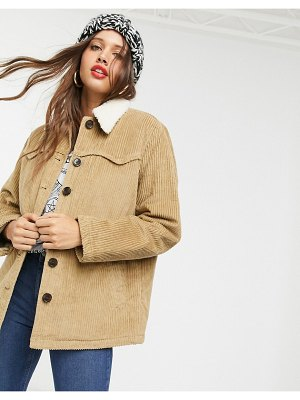 ASOS DESIGN cord jacket with borg-brown
