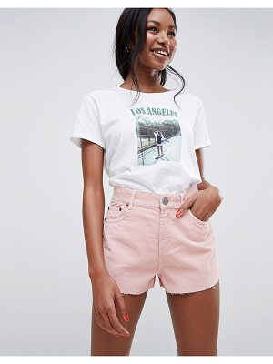 ASOS Design Cord Short With Raw Hem In Pale Pink