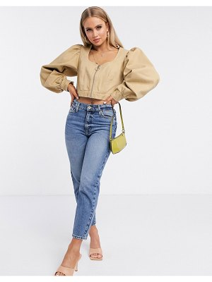 ASOS DESIGN corset jacket with extreme sleeve in stone