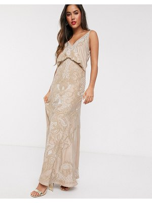 ASOS DESIGN cowl back satin embroidered maxi dress with ladder trim-neutral