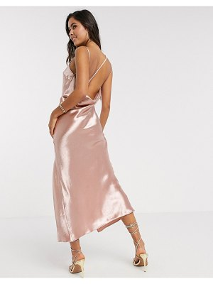 ASOS DESIGN cowl back strappy drape midaxi dress in ice nude-beige