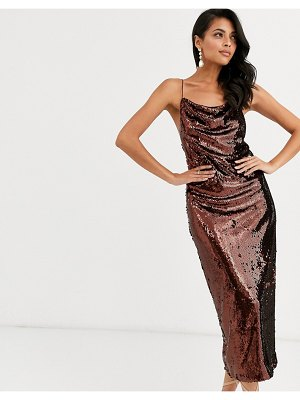 ASOS DESIGN cowl neck all over sequin midi cami dress