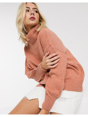 ASOS DESIGN cowl neck oversized sweater-pink