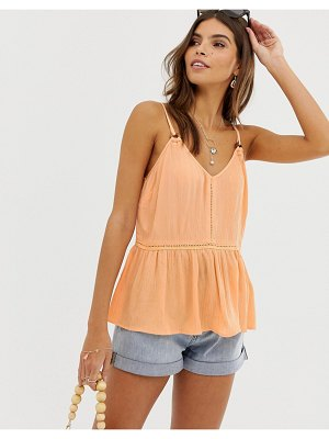 ASOS DESIGN crinkle cami with lace inserts and ring detail sun top
