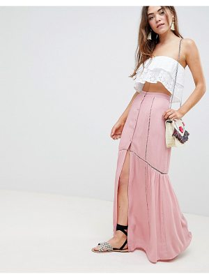 Asos crinkle maxi skirt with lace trim detail