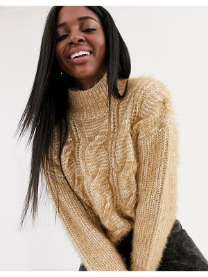 ASOS DESIGN crop cable sweater in fluffy yarn with high neck-stone