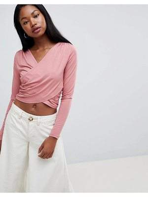 ASOS DESIGN crop wrap top
