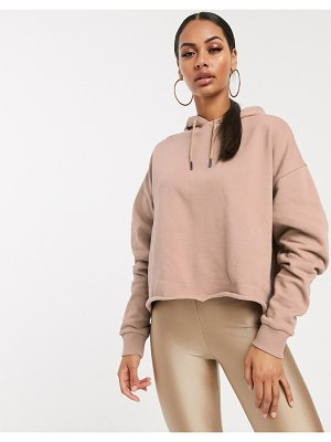 ASOS DESIGN cropped boxy hoodie two-piece in sand