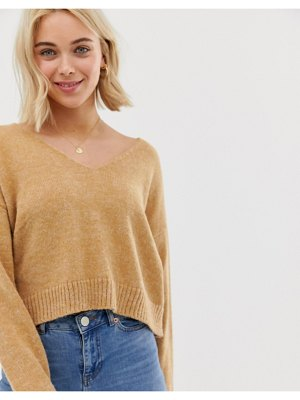 ASOS DESIGN cropped sweater in fluffy yarn and off shoulder
