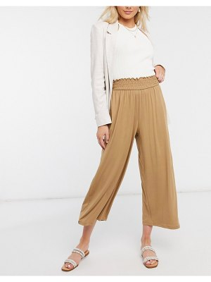 ASOS DESIGN culotte pants with shirred waist in sand-beige