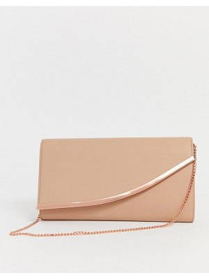 ASOS DESIGN curved bar clutch bag with detachable chain strap-pink