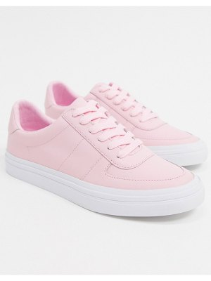 ASOS DESIGN dayna leather lace up sneakers in pink