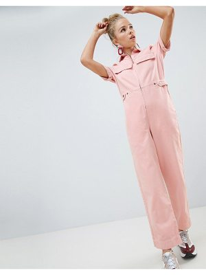 Asos denim boilersuit in pale pink