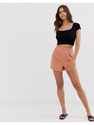ASOS DESIGN denim high waisted shorts with pleat detail-brown