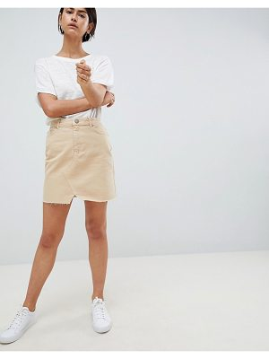 Asos DESIGN denim pelmet skirt in stone