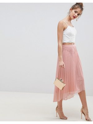 ASOS DESIGN dobby pleated high low midi skirt with pintuck detail