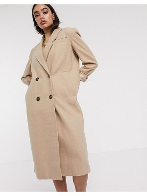 ASOS DESIGN double breasted longline coat in camel