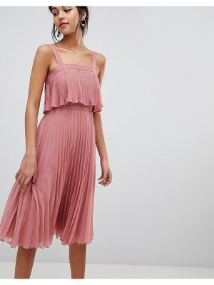 Asos double layer pleated cami midi dress