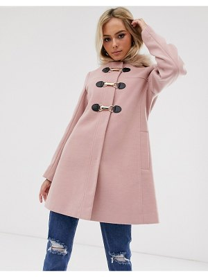 ASOS DESIGN duffle with swing skirt and metal work coat in pink