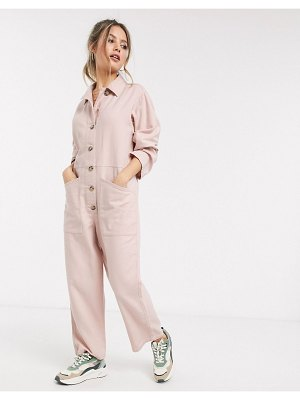 ASOS DESIGN easy button-front coveralls with pockets in blush-pink