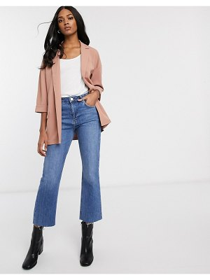 ASOS DESIGN easy relaxed blazer in textured jersey-pink
