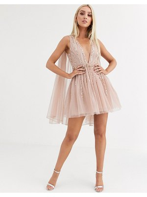 ASOS DESIGN embellished cape plunge tulle mini dress-beige