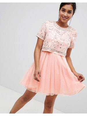 Asos embellished crop top tulle mini dress