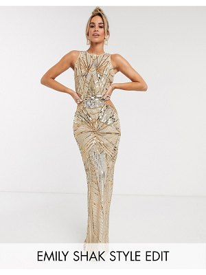 ASOS DESIGN embellished high neck maxi dress with cut out waist detail-gold