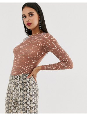 ASOS DESIGN embellished long sleeve mesh body with crystal studs-brown