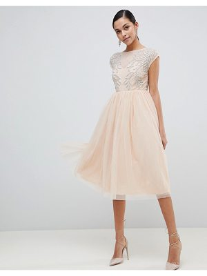 ASOS DESIGN embellished open back tulle midi dress