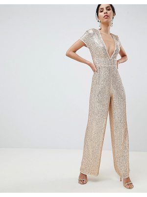 Asos DESIGN Embellished Plunge Jumpsuit With Wide Leg