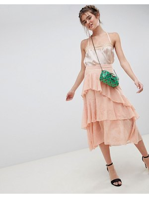 ASOS DESIGN embroidered lace asymmetric ruffle high low midi skirt