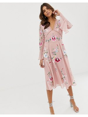 ASOS DESIGN embroidered midi dress with lace trims-pink