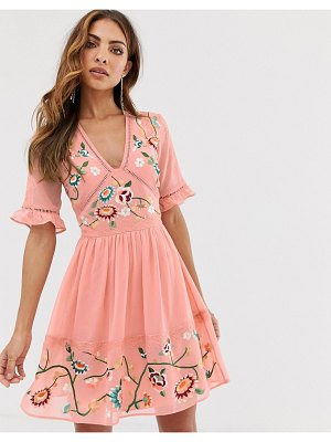 ASOS DESIGN embroidered mini dress with lace trims in pink