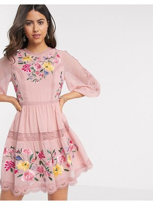 ASOS DESIGN embroidered mini skater dress with lace trims and puff sleeves in soft pink