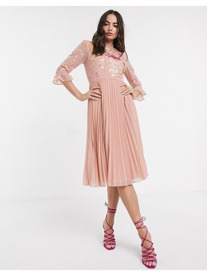 ASOS DESIGN embroidered pleated midi dress with fluted sleeve in dusky pink