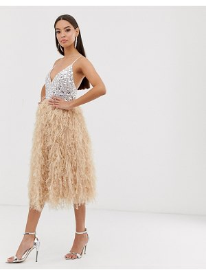 ASOS DESIGN encrusted bodice faux feather midi dress-pink